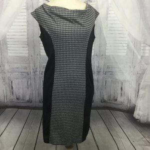 Houndstooth Color Block Black Sleeveless Dress 14
